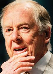 Oil and gas tycoon, Pickens', plan for massive wind farms has been put on hold.