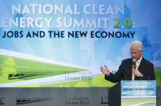 Former U.S. President Bill Clinton gives a speech at the National Clean Energy Summit 2.0 at UNLV on Monday.