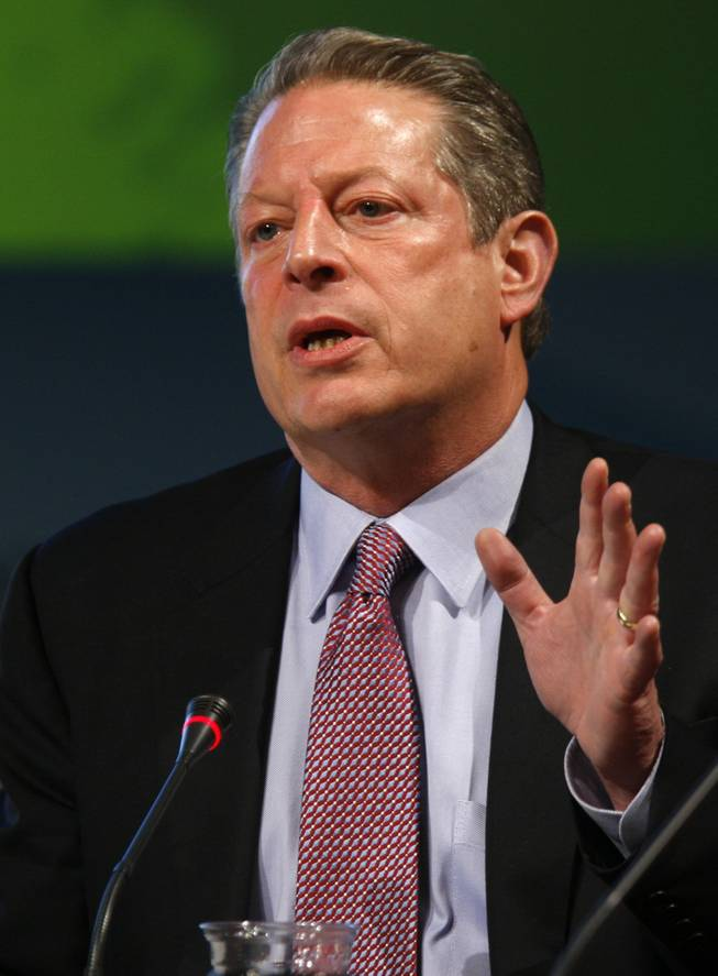 Former U.S. Vice President Al Gore speaks during a roundtable at the National Clean Energy Summit 2.0 at UNLV on Monday.