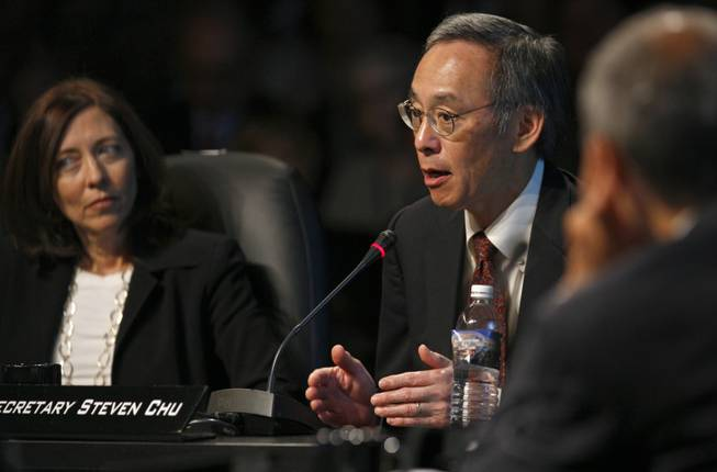 U.S. Secretary of Energy Steven Chu speaks during a roundtable discussion at the National Clean Energy Summit 2.0 at UNLV Monday. Listening at left is U.S. Sen. Maria Cantwell (D-Wash.).