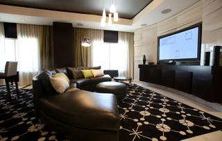 A look at the living room in the penthouse suite at the new HOTEL32 located on the Monte Carlo's top floor.