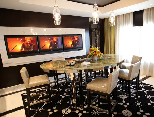 The dining area in the penthouse suite at the new ...