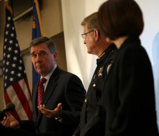 Gil Kerlikowske, left, the director of the White House Office of National Drug Control Policy, Jerry Hafen, director of the Nevada Department of Public Safety, and Catherine Cortez Masto, Nevada Attorney General, answer questions Wednesday at the Nevada Highway Patrol building during a press conference on drugged driving.