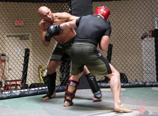 Randy Couture works out at his gym Xtreme Couture in Las Vegas Thursday in preparations for his upcoming fight against Antonio Rodrigo Nogueira in Portland, Ore on August 29.
