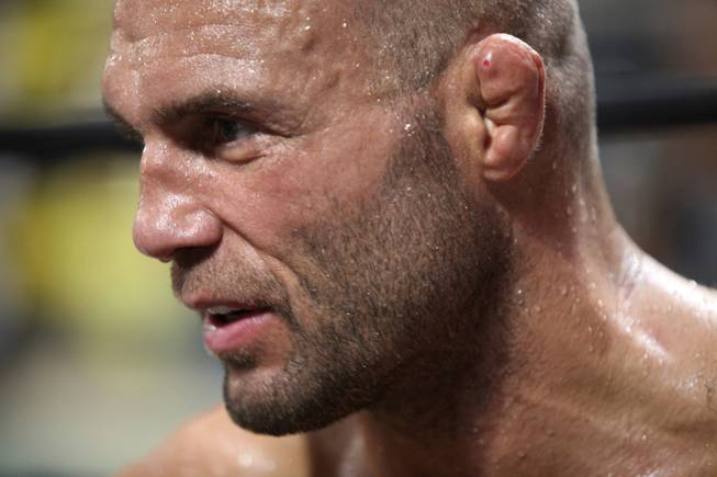 Randy Couture answers questions at his gym Xtreme Couture in Las Vegas Thursday in preparations for his upcoming fight against Antonio Rodrigo Nogueira in Portland, Ore on August 29.
