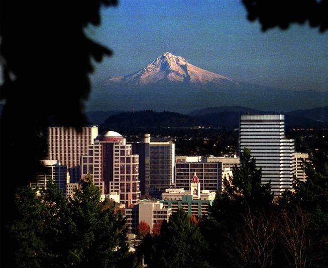 Picturesque Mt. Hood looms over downtown Portland, Ore., as seen from Washington Park Rose Garden in the city's west hills.