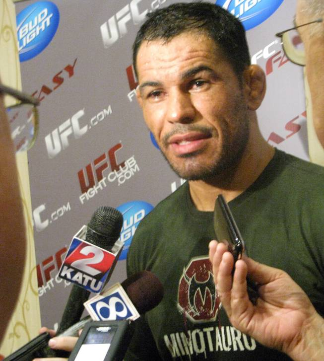 Antonio Rodrigo Nogueira talks with media members during a workout Wednesday, August 26, 2009 at the Portland Marriott Downtown Waterfront in Portland, Ore. Nogueira takes on former UFC heavyweight champ Randy Couture at UFC 102 Saturday night at the Rose Garden Arena.