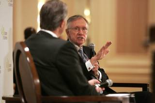 Sen. Harry Reid speaks at a Las Vegas Chamber of Commerce luncheon Wednesday at the Four Seasons.