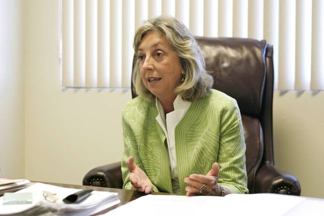 Rep. Dina Titus, D-Nev., speaks about health care reform legislation on Aug. 25.