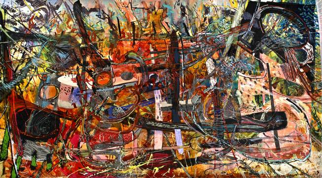 "Iva Gueorguieva, ""Clinamen,"" 2009, acrylic, oil, and collage on canvas, 76 x 139 in.  From the Frederick R. Weisman Art Foundation"