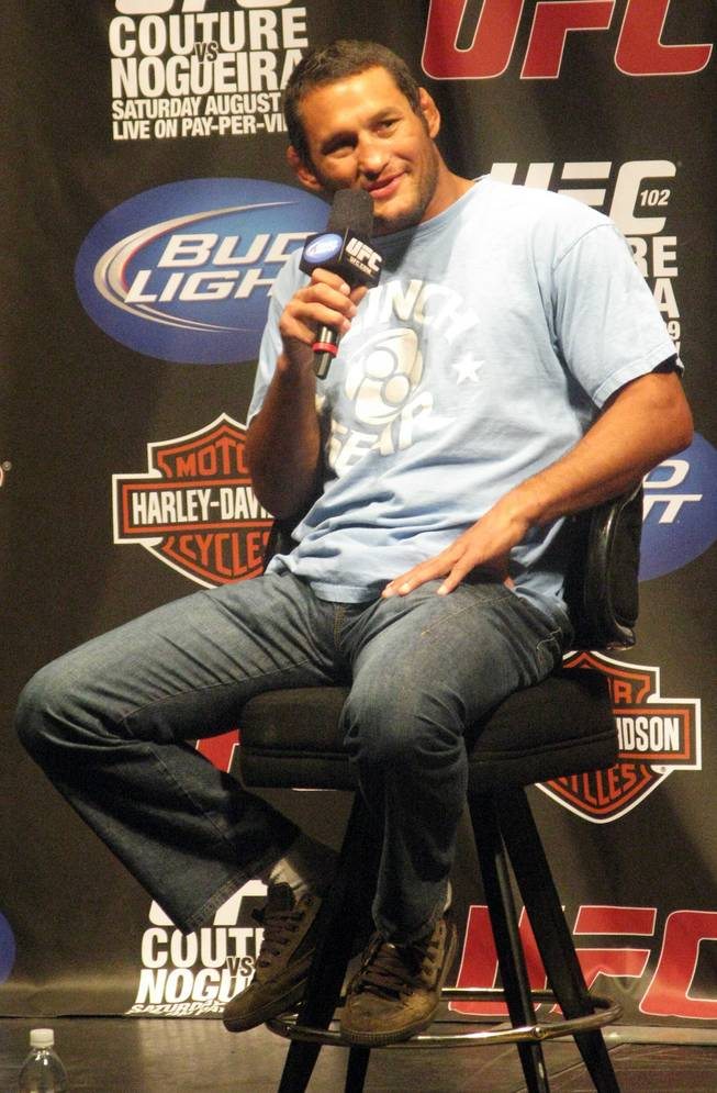 UFC's Dan Henderson talks to fans at a Q&A session in Portland, Ore. before UFC 102 in this file photo.