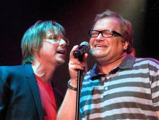 Drew Carey, right, joined Lon Bronson and his band onstage at Ovation Lounge in Green Valley Ranch on Aug. 27, 2009. Carey helped sing backup on the band's final number of the night, The Monkees' hit