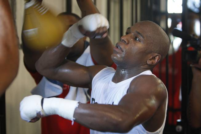 Floyd Mayweather Jr. works out at his Las Vegas gym this month. Mayweather is preparing for his upcoming fight with Juan Manuel Marquez on Sept. 19 at the MGM Grand Garden Arena.