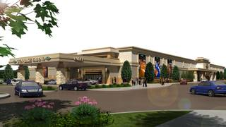 A rendering of the Gun Lake Casino exterior.