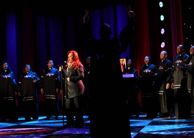 Wynonna performs with the Las Vegas Mass Choir during the 44th Annual Jerry Lewis MDA Telethon on Sunday.