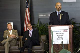 Brian Greenspun, left, and UNLV President Neal Smatresk listen as new director William Antholis speaks at the announcement of the Brookings Institution's new Mountain West Initiative at UNLV's Greenspun Hall on Tuesday, Sept. 8, 2009.
