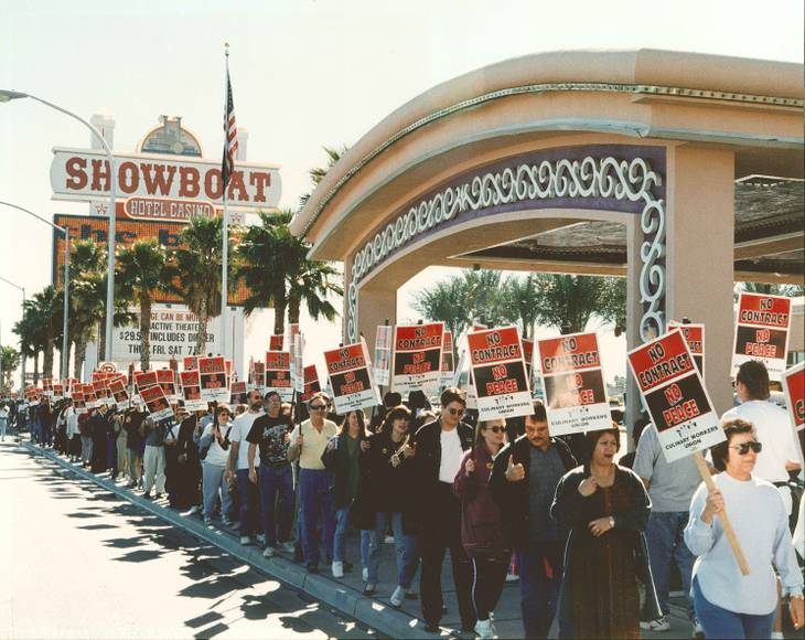 Culinary Union 226 members protest outside the Showboat Casino,1999.