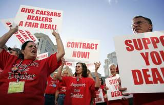 Transport Workers Union members rally in front of Caesars Palace on Las Vegas Boulevard South and Flamingo Road in Las Vegas Thursday, Sept. 17, 2009.