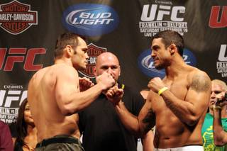 Former middleweight champ Rich Franklin squares off against former light heavyweight champ Vitor Belfort in a catchweight bout of 195 pounds at UFC 103 Saturday night at American Airlines Center.