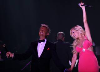 Zowie Bowies Chris Phillips and Marley Taylor perform during the gala premiere of Vintage Vegas at the Lance Burton Theater at the Monte Carlo on Sunday night.