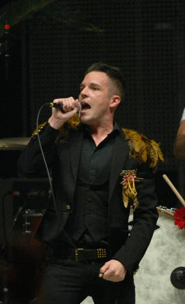 Frontman Brandon Flowers of The Killers at Mandalay Bay Events Center.