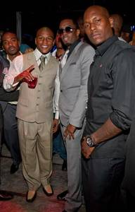 Ray J, Floyd Mayweather Jr., P Diddy and Tyrese Gibson attend Studio 54 at the MGM Grand following Mayweather's victory over Juan Manuel Marquez, Sept. 19, 2009.