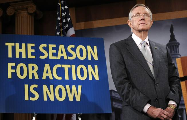 Senate Majority Leader Harry Reid takes part in a news conference on Capitol Hill in Washington, Thursday, Sept. 10, 2009.