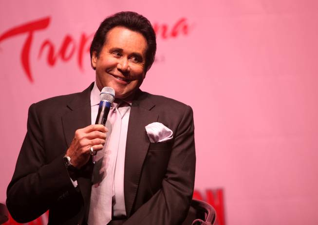 "Wayne Newton answers questions from the Tiffany Theater in the Tropicana Hotel and Casino during the announcement of ""Once Before I Go"" in October."