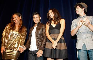 "From left, actress and choreographer Debbie Allen, actor Walter Perez, actress Kristy Flores and actor Paul Iacono are introduced at a screening of ""Fame"" at the Paris Las Vegas Sept. 24, 2009, in Las Vegas. The film opens nationwide in the United States on Sept. 25."