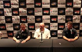 From left: Racers, Ricky Carmichael, Todd Bodine, and Mike Skinner answer questions Thursday at the Hard Cafe on the Strip. The Las Vegas 350 Nascar Camping World Truck Series race will be held at the Las Vegas Motor Speedway Saturday.