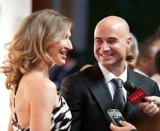 Steffi Graf and Andre Agassi arrive at the 14th annual Andre Agassi Foundation for Education's Grand Slam for Children benefit at Wynn Las Vegas.