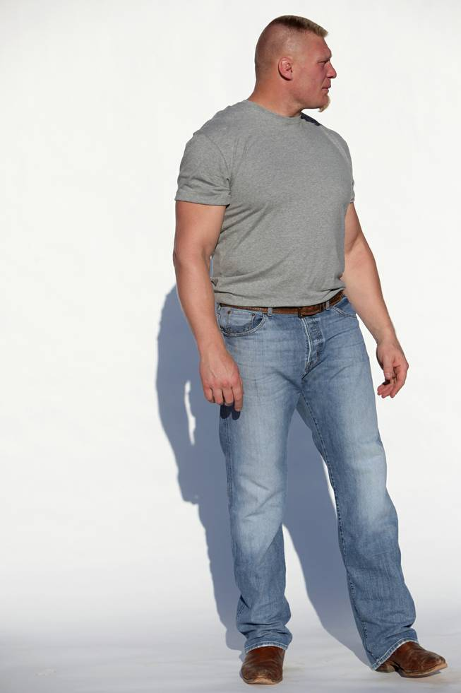 Brock Lesnar poses during a photo shoot for the UFC on Sunday.
