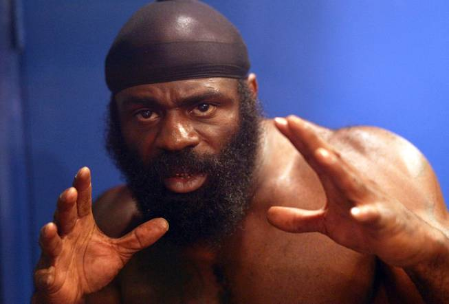 "Kimbo Slice, aka Kevin Ferguson, poses for a portrait at ""The Ultimate Fighter"" media day in June."