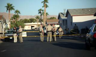Metro Police investigate the deaths of a man and woman found Wednesday afternoon at the Heritage Mobile Home Park, 1515 S. Mojave Road.