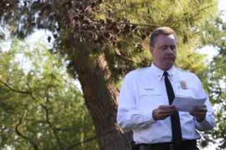 Boulder City Chief Kevin Nicholson pauses while speaking in memory of firefighters Sunday during the annual National Fallen Firefighters Day of Remembrance held at the Boulder City Fire Station.