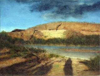 This is one of five 15-inch by 20-inch oil paintings created by Robert Beckmann of various views of the Las Vegas Wash in the aftermath of a devastating flood on July 8, 1999. These new paintings are part of Robert Beckmann: Elemental Landscape, opening to the public at the Springs Preserve on Oct. 16.