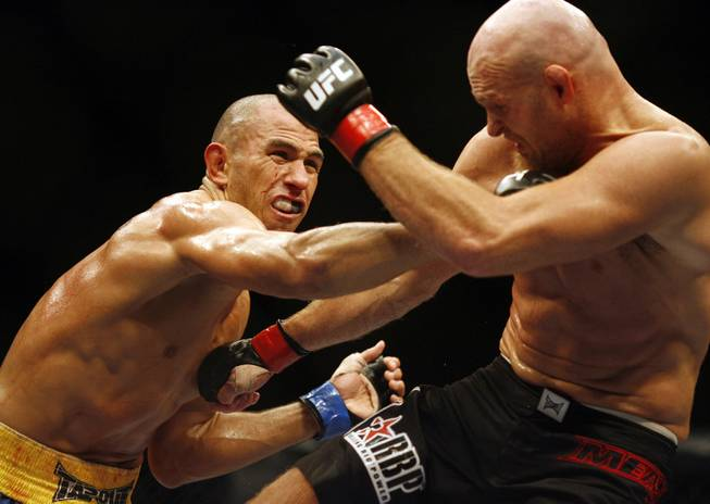 Brandon Vera, left, throws a punch at Keith Jardine, during their Ultimate Fighting Championship Light Heavyweight fight in the National Indoor Arena, Birmingham, England, Saturday, Oct. 18, 2008.
