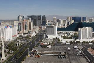 A view of the Las Vegas Strip during the official opening of Cloud Nine, the world's largest helium-filled, land-tethered balloon, Thursday, Oct. 8, 2009.