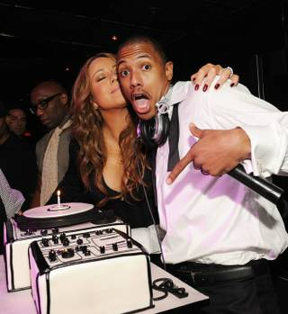 Mariah Carey and Nick Cannon celebrate Nick's 29th birthday at the Bank in the Bellagio.