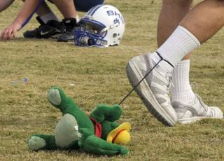 Basic High assistant football coach Dan Cahill walks around the practice field Monday with a stuff animal gator leashed to his ankle. Cahill brings out the toy each year during practices leading up to Henderson Bowl.