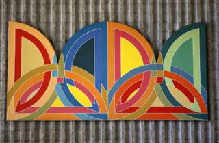 A painting thought to be by Frank Stella hangs in the lobby of Judy Bayley Hall at UNLV Thursday, Oct. 1, 2009.