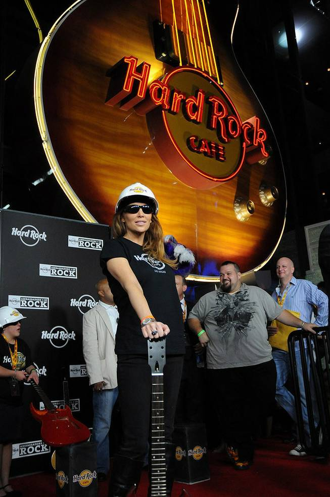 Angelica Bridges at the guitar-smashing ceremony during the grand opening of the Hard Rock Cafe on the Las Vegas Strip.