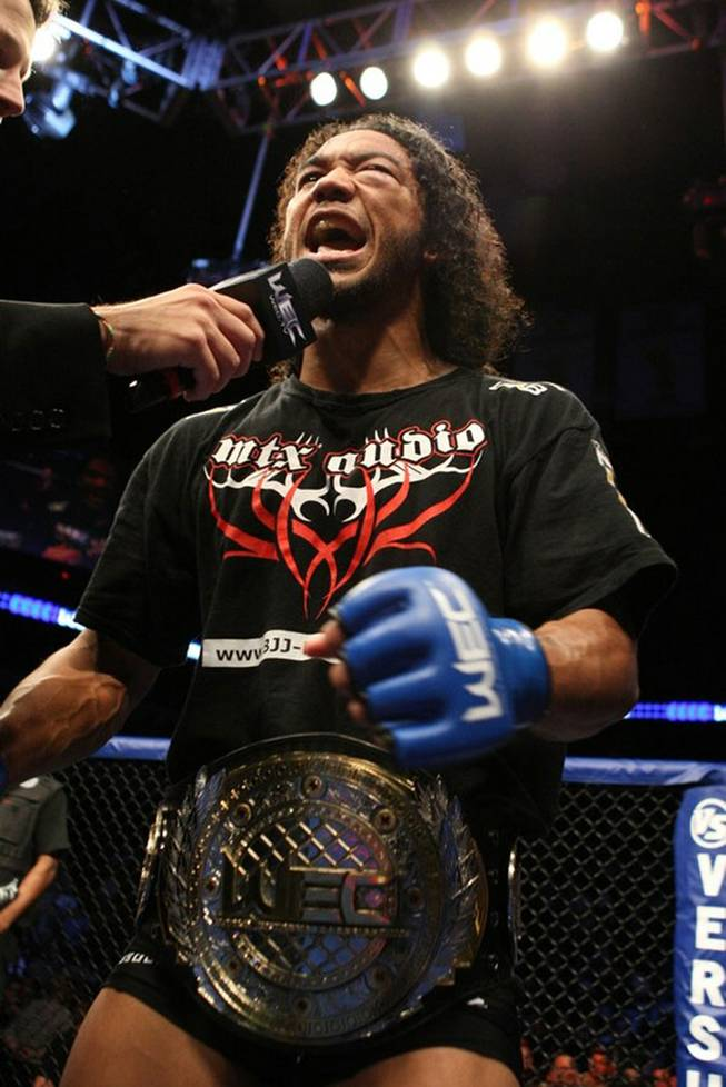 Ben Henderson celebrates after winning the WEC interim lightweight championship in this file photo.