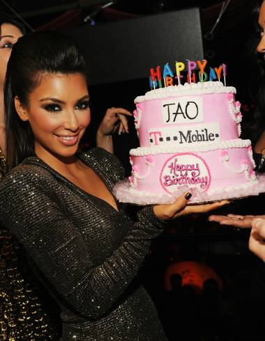 Kim Kardashian celebrates her 29th birthday at Tao in The Venetian.