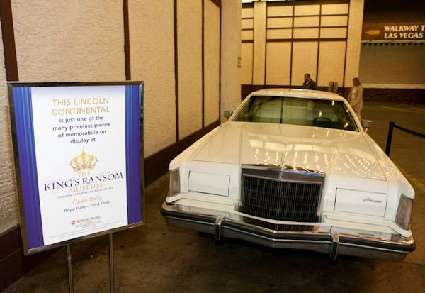 Elvis Presley's Lincoln Continental at King's Ransom Museum's Elvis Presley exhibit at the Imperial Palace.
