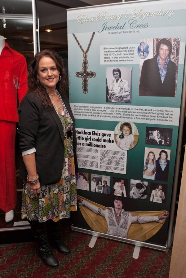 Rhonda Williams pictured with the necklace Elvis gave her at a concert in 1974 on display at King's Ransom Museum's Elvis Presley exhibit at the Imperial Palace.