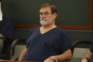 Former school bus driver Richard Stephen, 63, sits waiting to be called to appear before District Court Judge Abbi Silver for sentencing Monday at the Regional Justice Center.  Stephen was sentenced to 10 years in prison with the possibility of parole after 3 years on two counts of attempted lewdness of a minor under the age of 14.