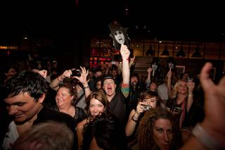 The crowd at the Alice Cooper mini-concert at John Varvatos Bowery NYC in the Hard Rock Hotel.