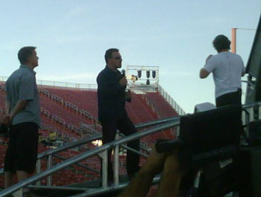 Bono during a sound check before Friday's concert at Sam Boyd Stadium.