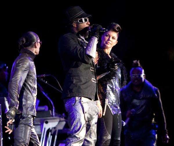 The Black Eyed Peas perform Friday, Oct. 23, 2009, in Sam Boyd Stadium. The Peas opened for U2.